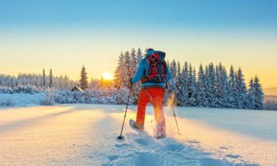 Snowshoe Walker Running Powder Snow Beautiful | Snowshoeing