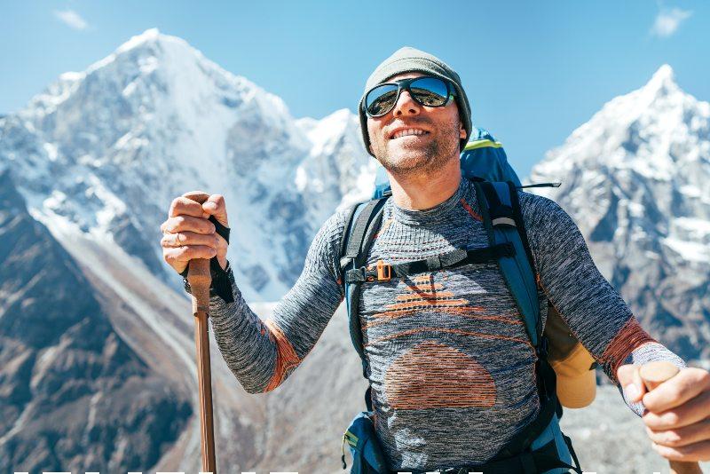 He enjoying mountain views during Everest Base Camp trekking route-Day Hiking Gear-SS